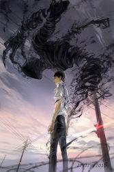 1boy ajin_(sakurai_gamon) black_hair black_pants nagai_kei pants power_lines shirt short_hair sky traffic_light white_shirt zzyzzyy