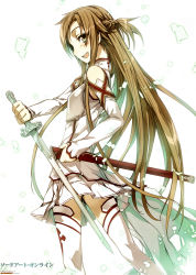 1girl abec absurdres asuna_(sao) blush brown_hair copyright_name detached_sleeves highres long_hair sheath smile solo sword sword_art_online tagme thighhighs weapon