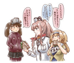 3girls anchor ascot blazer blue_eyes brown_eyes brown_hair eating food hair_between_eyes hairband hands_in_pockets i-26_(kantai_collection) jacket kantai_collection karasu_(naoshow357) light_brown_eyes light_brown_hair long_hair long_sleeves multiple_girls new_school_swimsuit pants pants_under_skirt ponytail red_ascot ryuujou_(kantai_collection) sailor_collar sandwich saratoga_(kantai_collection) short_hair short_sleeves side_ponytail sidelocks swimsuit swimsuit_under_clothes track_jacket track_pants track_suit translation_request twintails two-tone_hairband two_side_up visor_cap