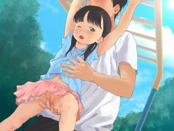 1boy 1girl ;o age_difference anyannko arms_up back_hair black_eyes blush bow censored cloud day fingering game_cg hetero loli mosaic_censoring navel no_panties one_eye_closed original outdoors pink_skirt playground pussy shiriai_no_ko_ni_chikan_shitemita_kekka_www skirt sky upskirt