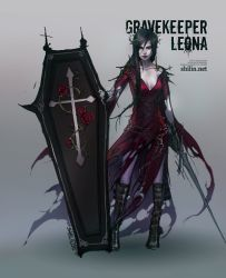 black_hair chains coffin cross dress flower league_of_legends leona_(league_of_legends) red_dress red_eyes rose shield shilin sword thorns weapon