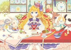 :q banner blonde_hair blue_eyes bottle bow butter_knife cake candy crown cup doughnut dress eating flower food fork fruit fruit_tart gem hair_bow half_updo holding holding_fork holding_knife knife long_hair long_sleeves looking_at_viewer mig_(36th_underground) mini_crown original parfait plate ribbon sailor_dress silverware sitting stuffed_animal stuffed_bunny stuffed_deer stuffed_dog stuffed_panda stuffed_penguin stuffed_pig stuffed_toy table tablecloth tart_(food) teacup teapot teddy_bear throne tongue tongue_out toy