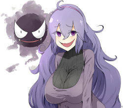 1girl ahoge blush breasts crazy_eyes gastly hairband hex_maniac_(pokemon) highres huge_breasts long_hair messy_hair npc npc_trainer open_mouth pale_skin pokemon pokemon_(game) pokemon_xy purple_eyes purple_hair sente solo sweater