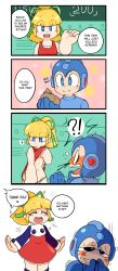 blonde_hair blue_eyes blush comic english flat_chest loli nosebleed oblivious panties ponytail pussy rockman rockman_(character) rockman_(classic) roll saliva undressing