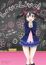 1girl bare_legs black_hair blazer bow cardigan chalkboard character_name copyright_name hair_bow looking_at_viewer love_live!_school_idol_project love_live!_the_school_idol_movie necktie official_art open_mouth plaid plaid_skirt pleated_skirt red_eyes school_uniform short_hair skirt smile solo twintails yazawa_nico
