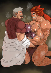 2boys bara body_hair drooling erection frottage huge_penis male_focus multiple_boys muscle open_mouth orange_hair penis pokemon saliva silver_hair smile steam sweat tagme teeth testicles tongue_out undressing yaoi