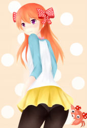 black_legwear cosplay gekkan_shoujo_nozaki-kun mei_(pokemon) paras pokemon raglan_sleeves sakura_chiyo skirt yellow_skirt