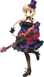 1girl bare_shoulders blonde_hair bow bowtie braid character_request choker dress electric_guitar full_body gloves green_eyes guitar hat high_heels highres holding instrument long_hair pantyhose single_braid solo to_heart_2 to_heart_2_dungeon_travelers transparent_background