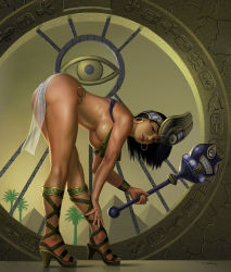 1girl alan_gutierrez ass bare_arms bare_shoulders black_eyes black_hair bracelet breasts closed_mouth dark_skin earrings egyptian egyptian_clothes from_side headgear high_heels hoop_earrings jewelry large_breasts leaning_forward looking_at_viewer looking_to_the_side menace panties pelvic_curtain queen's_blade revealing_clothes ring sandals setra shiny shiny_skin solo striped striped_panties thighs underboob underwear