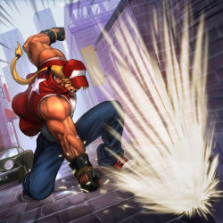 1boy attack bared_teeth blonde_hair brolo denim fatal_fury fingerless_gloves gloves hat hat_over_eyes jeans king_of_fighters long_hair muscle pants ponytail punching shoes sneakers solo tank_top terry_bogard
