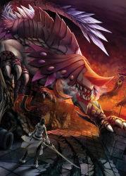 1boy black_hair blade_master_(elsword) coat elsword flag male_focus monster pants poklala raven_(elsword) solo sword weapon