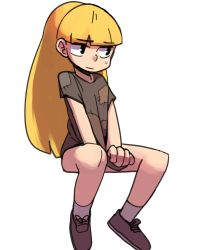1girl artist_request blonde_hair covering gravity_falls pacifica_northwest patches shoes solo