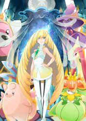 1girl :3 aura bangs bare_arms bare_shoulders bear bewear blonde_hair blunt_bangs breasts clefable closed_mouth collarbone dress erect_nipples flower gem ghost green_eyes hair_over_one_eye hand_on_hip highres holding holding_poke_ball impossible_clothes jellyfish leggings legs_crossed lilligant long_hair looking_at_viewer lusamine_(pokemon) medium_breasts milotic mismagius nihilego poke_ball pokemon pokemon_(creature) pokemon_(game) pokemon_sm see-through short_dress sleeveless sleeveless_dress smile standing star_(sky) tentacle turtleneck ultra_beast very_long_hair watson_cross white_dress yuutarou_(fukiiincho)