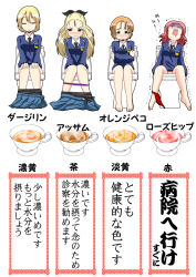 4girls assam blonde_hair blue_eyes blush bow commentary_request cup darjeeling eyes_closed girls_und_panzer hair_bow hiyoko_(chick's_theater) long_hair multiple_girls necktie open_mouth orange_hair orange_pekoe pale_face panties panties_around_leg purple_panties red_hair red_panties rosehip school_uniform short_hair skirt smile tea teacup toilet toilet_use translation_request underwear