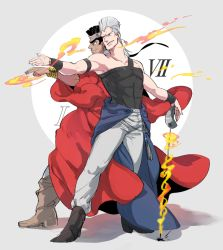 2boys back-to-back black_hair clock fire grey_hair jean_pierre_polnareff jojo_no_kimyou_na_bouken miyasemao mohammed_avdol multiple_boys rapier robe sword weapon
