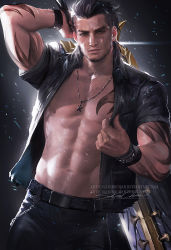 1boy abs final_fantasy final_fantasy_xv looking_at_viewer male_focus muscle scar solo tagme tattoo weapon