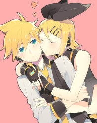 1boy 1girl black_bow blonde_hair blush bow cheek-to-cheek collared_shirt crossed_arms eyes_closed green_eyes hair_ornament hairclip headphones headset heart holding hug kagamine_len kagamine_rin necktie pink_background project_diva_(series) project_diva_extend shirt short_hair sinaooo vocaloid