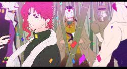 5boys bamboo blurry dark-skinned_male depth_of_field fox_mask japanese jean_pierre_polnareff jojo_no_kimyou_na_bouken joseph_joestar kakyouin_noriaki kedouinkororu kuujou_joutarou mask mohammed_avdol multiple_boys outdoors pink_hair purple_eyes