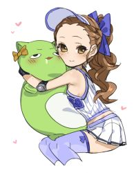 bare_shoulders blue_legwear blush bow brown_eyes brown_hair character_request drooling elbow_pads hair_bow heart hug idolmaster long_hair looking_at_viewer pleated_skirt ponytail skirt spawnfoxy stuffed_toy tagme tank_top visor_cap wavy_hair