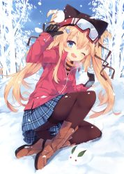 1girl ;d absurdres animal_hat bare_tree black_gloves black_legwear blonde_hair blue_eyes blue_skirt blush boots brown_boots cat_hat day eyebrows_visible_through_hair fang full_body gloves goggles goggles_on_head hat highres holding jacket kneeboots long_hair long_sleeves nibiiro_shizuka on_ground one_eye_closed open_mouth original outdoors pantyhose plaid plaid_skirt pleated_skirt red_jacket scan sitting skirt smile snow snow_bunny snowball solo thighband_pantyhose tree twintails