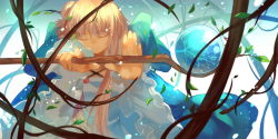 1girl blonde_hair deuria dress female hair_bun joseph_lee long_hair magic pixiv_fantasia smile solo staff tied_hair tree
