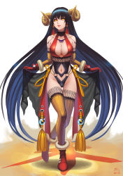 1girl 2015 absurdres black_hair breasts chinese_new_year cleavage curtsey darkmuleth elbow_gloves full_body gloves halterneck highres horns lipstick long_hair looking_at_viewer makeup navel_cutout original parted_lips ribbed_gloves ribbed_legwear solo thighhighs very_long_hair yellow_eyes