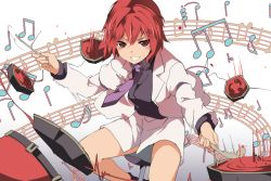 1girl beamed_quavers beamed_semiquavers blush crotchet drum drumsticks gradient gradient_background grin hasebe_yuusaku horikawa_raiko instrument jacket long_sleeves looking_at_viewer mitsudomoe_(shape) music musical_note necktie playing_instrument quaver red_eyes red_hair shirt short_hair sitting skirt skirt_set smile solo tomoe_(symbol) touhou vest