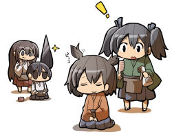 ! 4girls :3 akagi_(kantai_collection) black_hair bottle brown_hair chibi comb eyes_closed hiryuu_(kantai_collection) jitome kaga_(kantai_collection) kakuzatou_(koruneriusu) kantai_collection long_hair messy_hair multiple_girls seiza shadow side_ponytail simple_background sitting souryuu_(kantai_collection) sparkle spray_bottle twintails very_long_hair white_background