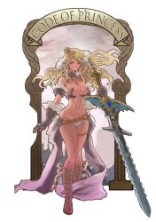1girl armor bare_shoulders bikini_armor blonde_hair blush breasts cleavage code_of_princess crown flower gauntlets hair_flower hair_ornament highres large_breasts long_hair navel solange_blanchefleur_de_luxe solo sword t_jam weapon wide_hips