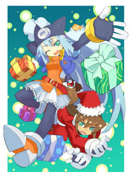 ashe blue_eyes blue_hair brown_hair capcom green_eyes long_hair rockman rockman_zx shigehiro_(artist) smile vent wink