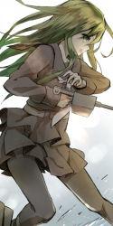 green_eyes green_hair kantai_collection long_hair nagatsuki_(kantai_collection) necktie nekogohan uniform weapon