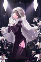 1girl blue_eyes church cross cross_necklace crying crying_with_eyes_open feathers flower garter_straps gloves hands_clasped hands_together heterochromia high_heels highres iri_flina lily_(flower) nun open_mouth praying red_eyes short_hair silver_hair solo sword_girls teardrop tears thighhighs veil