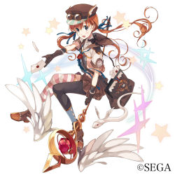 1girl asymmetrical_legwear bag black_legwear boots broom broom_riding brown_eyes falsehood full_body gloves goggles hat highres letter long_hair looking_at_viewer low_twintails messenger_bag open_mouth orange_hair peaked_cap sailor_collar sega serpent short_sleeves shoulder_bag skirt solo sparkle staff star striped striped_legwear twintails watermark white_background winged_hat wings world_end_eclipse