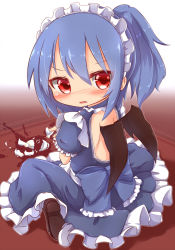 1girl alternate_costume alternate_hairstyle apron backless_outfit bat_wings blue_dress blue_hair blush broken_cup cup dress enmaided fang highres kisa_(k_isa) looking_at_viewer looking_back maid maid_apron maid_headdress open_mouth ponytail red_eyes remilia_scarlet sitting solo touhou wariza wings