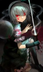 1girl black_gloves black_legwear black_shoes blood blood_on_face blood_on_ground bloody_clothes closed_mouth denchu_(kazudentyu) dress full_body ghost gloves green_dress green_skirt green_vest hair_ribbon hairband highres hitodama holding holding_sword holding_weapon katana kneeling konpaku_youmu konpaku_youmu_(ghost) looking_to_the_side puffy_short_sleeves puffy_sleeves red_eyes ribbon shoes short_hair short_sleeves silver_hair skirt skirt_set squatting sword touhou vest weapon white_sleeves