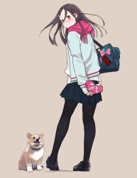 1girl badge bag black_legwear blush bone box brown_background brown_hair button_badge dog from_behind gift gift_box glass highres long_hair looking_at_viewer looking_back morifumi original pantyhose pleated_skirt scarf school_bag shoes simple_background skirt sleeves_past_wrists smile smiley_face sweater