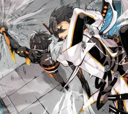 2boys battle black_hair coat daizu_yan dual_persona elsword male multicolored_hair multiple_boys punching raven_(elsword) sword two-tone_hair weapon white_hair yellow_eyes