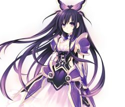 1girl armor armored_dress black_gloves black_hair breasts choker cleavage date_a_live dress floating_hair gloves hair_ornament highres long_hair looking_at_viewer medium_breasts multicolored_hair official_art purple_eyes purple_hair sleeveless sleeveless_dress solo spaulders standing strapless strapless_dress tsunako two-tone_hair very_long_hair yatogami_tooka