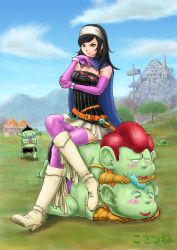 1girl bangs black_hair boots breasts bustier cape chin_rest cleavage dragon_quest dragon_quest_x dwarf_(dq10) earrings elbow_gloves glasses glasses_removed gloves green_eyes green_skin highres hoop_earrings human_furniture jewelry knee_boots kosatsune legs_crossed long_hair long_legs multiple_belts pink_gloves pink_legwear red-framed_glasses runana_(dq10) sitting sitting_on_person skirt swept_bangs thighhighs vertical_stripes