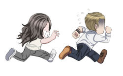 1boy 1girl chasing chibi ethan_winters image_sample long_hair mia_winters pants pixiv_sample resident_evil resident_evil_7 scared