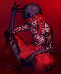 1boy arm_wrap avenger bandage black_hair bow dark_skin dark_skinned_male fate/hollow_ataraxia fate_(series) full_body full_body_tattoo grin hand_up headband knee_up leg_wrap looking_away male_focus no_shoes pants red_background red_bow red_pants shinooji shirtless sitting smile solo tattoo yellow_eyes
