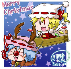 2girls :3 animal_costume antlers arm_up ascot bag bat_wings bell blue_hair blush bow chibi christmas commentary_request crystal dated detached_wings english flandre_scarlet full_body gradient gradient_background hat hat_bow merry_christmas mob_cap multiple_girls noai_nioshi open_mouth pink_hat puffy_short_sleeves puffy_sleeves red_bow red_eyes reindeer_costume remilia_scarlet ribbon-trimmed_clothes ribbon_trim short_hair short_sleeves signature skirt skirt_set sleigh star touhou white_hat wings |_|