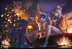 1girl animal_ears arm_behind_back barefoot blade_&_soul blue_eyes boat cat cat_ears center_opening cloud dress earrings feet feet_in_water flower glowing hair_flower hair_ornament highres jewelry kneepits lantern legs long_hair lyn_(blade_&_soul) night night_sky panties pantyshot pantyshot_(sitting) paper_lantern silver_hair sitting sky small_breasts smile soaking_feet star_(sky) sunset tail toes underwear water