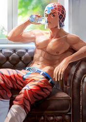 1boy black_eyes bottle couch drinking guido_mista hat higurehiiro jojo_no_kimyou_na_bouken light looking_at_viewer shirtless sitting solo sweat tiger_print water_bottle window