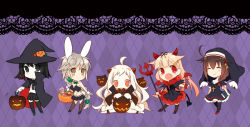 5girls akitsu_maru_(kantai_collection) angel_wings animal_ears bunny_ears bunny_girl candy cape costume cross devil halloween hat horns jack-o'-lantern kantai_collection multiple_girls northern_ocean_hime nun polearm shigure_(kantai_collection) shinkaisei-kan suzushiro_kurumi tail trident unryuu_(kantai_collection) weapon wings witch witch_hat yuudachi_(kantai_collection)
