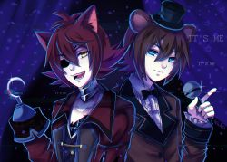 2boys animal_ears bear_ears blue_eyes brown_hair curtains eyepatch fangs felicia-val five_nights_at_freddy's fox_ears foxy_(fnaf) freddy_fazbear glitch hat highres hook_hand looking_at_viewer microphone mini_hat mini_top_hat multiple_boys open_mouth personification red_hair smile top_hat yellow_eyes