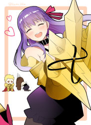 1boy 2girls ^_^ ^o^ blonde_hair brown_hair claws eyes_closed fate/extra fate/extra_ccc fate/grand_order fate/stay_night fate_(series) gilgamesh hair_ribbon hair_slicked_back kana kishinami_hakuno_(female) long_hair multiple_girls open_mouth passion_lip purple_hair ribbon smile solo_focus