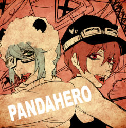 2boys animal_hat aqua_hair arsmagna cabbie_hat copyright_name goggles goggles_on_hat hat izumi_sou kano_akira_(arsmagna) male_focus multiple_boys ooyama_(hnk1018) panda_hero_(vocaloid) red_eyes red_hair tongue tongue_out upper_body