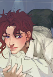 1boy blue_eyes emg_(christain) jojo_no_kimyou_na_bouken kakyouin_noriaki red_hair solo