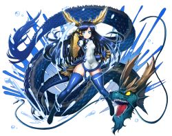 1girl bandage blue_eyes blue_hair boots china_dress chinese_clothes defiaz_(infinity) dragon dragon_girl dragon_horns dragon_tail dress gauntlets head_fins horns karin_(p&d) long_hair open_mouth puzzle_&_dragons sharp_teeth smile solo_focus spiked_knuckles tail teeth thigh_boots thighhighs water yellow_eyes
